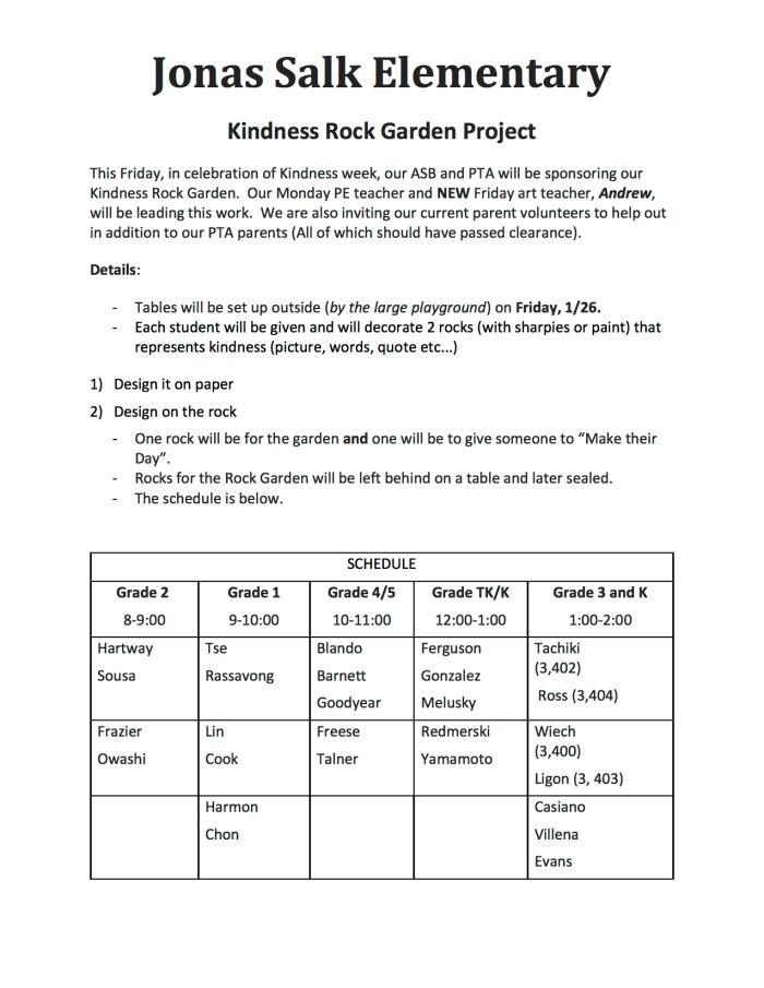 2018.01.26 - Jonas Salk Elementary Kindness Rock Garden Project